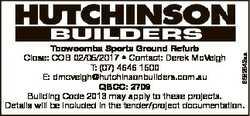 6582942aa Toowoomba Sports Ground Refurb Close: COB 02/05/2017 * Contact: Derek McVeigh T: (07) 4646...