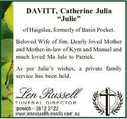 """DAVITT, Catherine Julia """"Julie"""" of Haigslea, formerly of Basin Pocket. Beloved Wife of Jim..."""