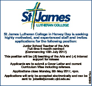 St James Lutheran College in Hervey Bay is seeking highly motivated, and experienced staff and in...
