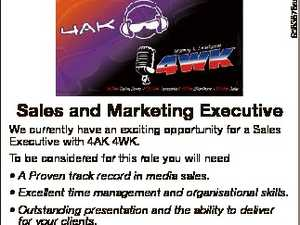 Sales and Marketing Executive    We currently have an exciting opportunity for a Sales Executive with 4AK 4WK. To be considered for this role you will need    A Proven track record in media sales.  Excellent time management and organisational skills.  Outstanding presentation and the ability to deliver for your clients.   Toowoomba ...
