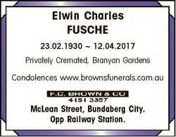 Elwin Charles FUSCHE 23.02.1930  12.04.2017 Privately Cremated, Branyan Gardens Condolences www.brow...