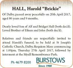 "HALL, Harold ""Brickie"" Of Dalby, passed away peacefully on 20th April 2017, aged 86 years..."