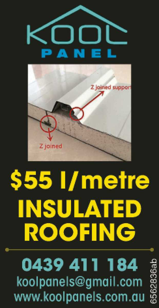 KOOL PANELS   $55 l/metre   Insulated Roofing   0439 411 184 koolpanels@gmail.com ...