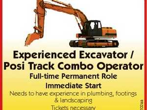 Experienced i Excavator / Posi Track Combo Operator Needs to have experience in plumbing, footings & landscaping Tickets necessary Ring 0401 676 177 6582202aa Full-time Permanent Role Immediate Start