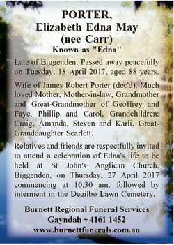 """PORTER, Elizabeth Edna May (nee Carr) Known as """"Edna"""" Late of Biggenden. Passed away peace..."""