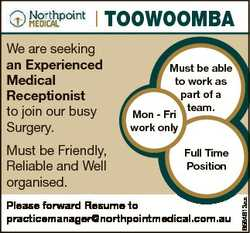 Toowoomba Must be Friendly, Reliable and Well organised. Must be able to work as part of a team. Mon...