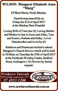 """WILSON: Margaret Elizabeth Anne """"Marg"""" Of Short Street, North Mackay. Passed away peaceful..."""