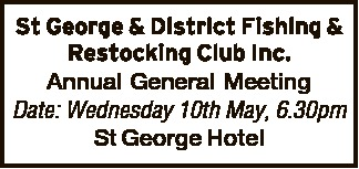 . Annual General Meeting Date: Wednesday 10th May, 6.30pm St George Hotel