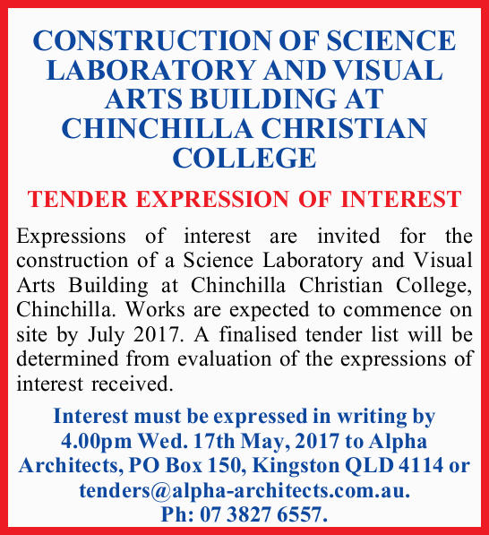 CONSTRUCTION OF SCIENCE LABORATORY AND VISUAL ARTS BUILDING AT CHINCHILLA CHRISTIAN COLLEGE TENDE...