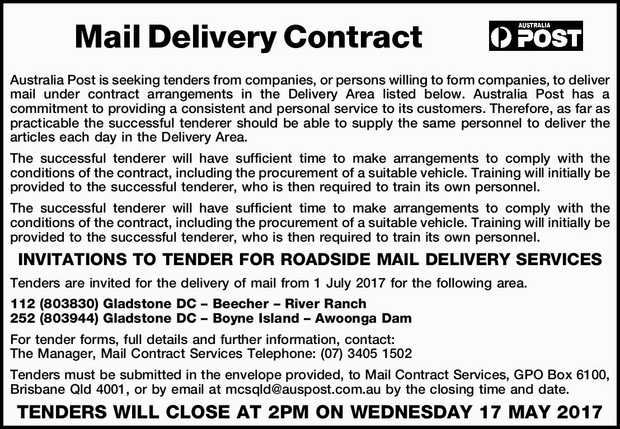 Mail Delivery Contract Australia Post is seeking tenders from companies, or persons willing to fo...