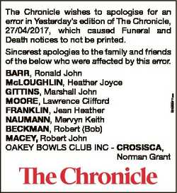 6586877aa The Chronicle wishes to apologise for an error in Yesterday's edition of The Chronicle...