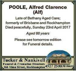 POOLE, Alfred Clarence (Alf) Late of Bethany Aged Care; formerly of Brisbane and Rockhampton Died pe...