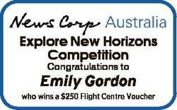 Explore New Horizons Competition Congratulations to Emily Gordon who wins a $250 Flight Centre Vouch...