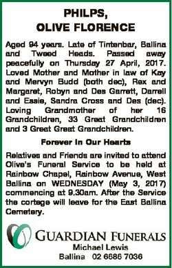 PHILPS, OLIVE FLORENCE Aged 94 years. Late of Tintenbar, Ballina and Tweed Heads. Passed away peacef...