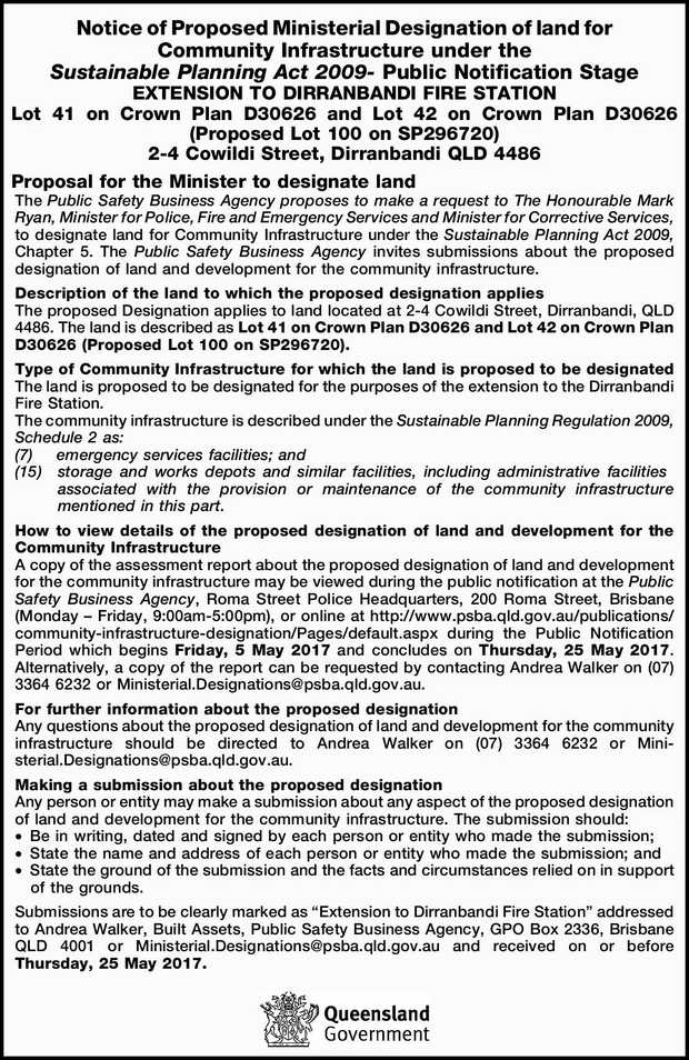 Notice of Proposed Ministerial Designation of land for Community Infrastructure under the Sustain...