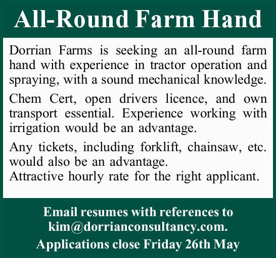 All-Round Farm Hand   Dorrian Farms is seeking an all-round farm hand with experience in trac...