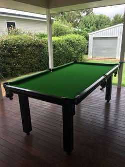"7' x 3'6"" 1 piece slate with pool and snooker balls, cues, etc."