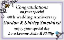Congratulations on your special 60th Wedding Anniversary
