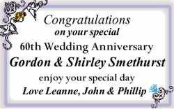 Congratulations on your special 60th Wedding Anniversary   Gordon & Shirley Smethurst  ...