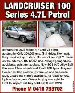 4.7L Petrol Immaculate 2003 model 4.7 Litre V8 petrol, automatic. Only 200,000kms. ( Still...