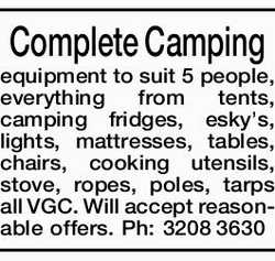 Complete Camping equipment to suit 5 people, everything from tents, camping fridges, esky's...