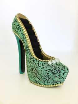 Brand New! Green Lace, Diamante trim, Pearls, Minor scuffing.