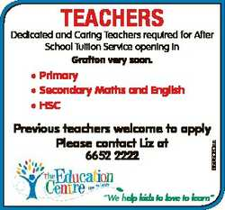 TEACHERS Dedicated and Caring Teachers required for After School Tuition Service opening in Grafton...