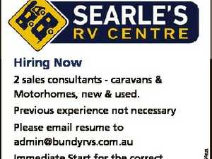 Hiring Now 2 sales consultants - caravans & Motorhomes, new & used. Please email resume to admin@bundyrvs.com.au Immediate Start for the correct applicants 6596154aa Previous experience not necessary