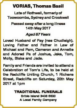 VORIAS, Thomas Basil Late of Rothwell, formerly of Toowoomba, Sydney and Crookwell Passed away after...