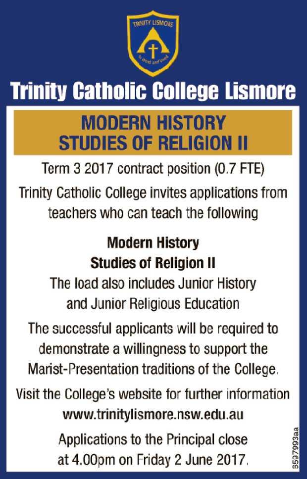Trinity Catholic College Lismore   MODERN HISTORY STUDIES OF RELIGION II   Term 3 2017...