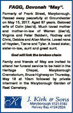 """FAGG, Devonah """"May"""". Formerly of Frank Street, Maryborough. Passed away peacefully at Grou..."""