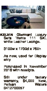 Tronto 111 SXL white Leather Lounge.  3100w x 1730d x 760h  As new, used for Display only  Purchased...