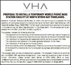 PROPOSAL TO INSTALL A TEMPORARY MOBILE PHONE BASE STATION FACILITY AT NORTH BYRON BAY PARKLANDS. Vod...