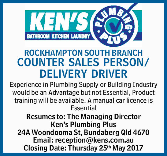 ROCKHAMPTON SOUTH BRANCH COUNTER SALES PERSON/ DELIVERY DRIVER    Experience in Plumbing Su...