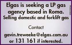 Selling domestic and forklift gas Contact gavin.treweeke@elgas.com.au or 131 161 if interested. 6583...