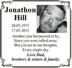 Jonathon Hill 20.05.1971 17.05.2015 Another year has passed us by, Since you were called away. But y...