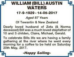 WILLIAM (BILL) AUSTIN WATERS 17-9-1929 - 14-05-2017 Aged 87 Years Of Tewantin & New Zealand Dear...