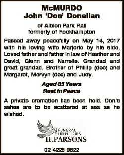 McMURDO John `Don' Donellan of Albion Park Rail formerly of Rockhampton Passed away peacefully o...