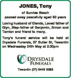 JONES, Tony of Sunrise Beach passed away peacefully aged 80 years Loving husband of Glenda, Loved fa...