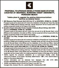 PROPOSAL TO UPGRADE MOBILE PHONE BASE STATION LOCATED AT BEERWAH, SUNSHINE COAST UNIVERSITY, PEREGIA...