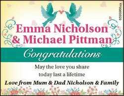 6593986aa Emma Nicholson & Michael Pittman Congratulations May the love you share today last a l...