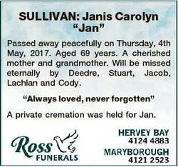 """SULLIVAN: Janis Carolyn """"Jan"""" Passed away peacefully on Thursday, 4th May, 2017. Aged 69 y..."""