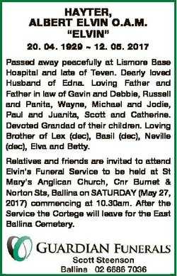 "HAYTER, ALBERT ELVIN O.A.M. ""ELVIN"" 20. 04. 1929  12. 05. 2017 Passed away peacefully at L..."