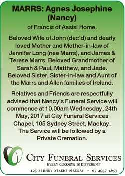 MARRS: Agnes Josephine (Nancy) of Francis of Assisi Home. Beloved Wife of John (dec'd) and dearl...