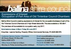 Expressions of Interest Occupation of Part Area of Old Tintenbar Council Chambers Ballina Shire Coun...