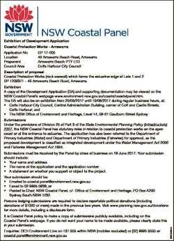 Exhibition of Development Application Coastal Protection Works - Arrawarra Application No Location P...