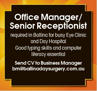 Office Manager/ Senior Receptionist required in Ballina for busy Eye Clinic and Day Hospital
