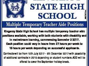 Multiple Temporary Teacher Aide Positions