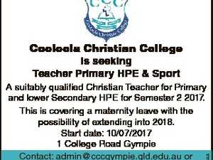 Cooloola Christian College is seeking Teacher Primary HPE & Sport 6598371aa A suitably qualified Christian Teacher for Primary and lower Secondary HPE for Semester 2 2017. This is covering a maternity leave with the possibility of extending into 2018. Start date: 10/07/2017 1 College Road Gympie Contact: admin@cccgympie ...