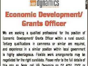 6599174aa Economic Development/ Grants Officer We are seeking a qualified professional for the position of Economic Development/ Grants Officer within a rural council. Tertiary qualifications in commerce or similar are required, and experience in a similar position within local government is highly advantageous. Flexible work arrangements may be negotiated for ...